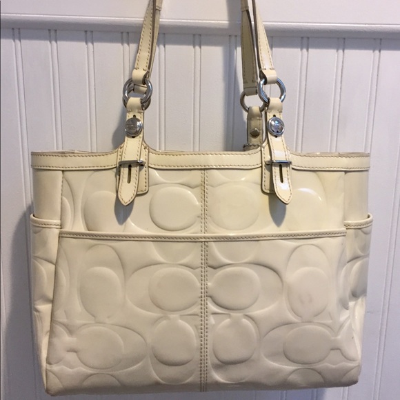 Coach Handbags - COACH Signature Collection Ivory Patent Leather